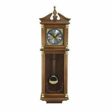 """Bedford Clock Collection 34.5"""" Antique Chiming Wall Clock with Roman Numerals in a Harvest Oak Finish"""