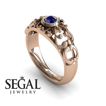 Unique Engagement Ring 14K Red Gold Vintage Filigree Ring Sapphire - Makayla