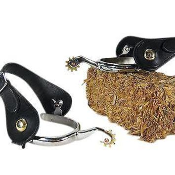 2pc Stainless Spurs w/ black leather straps mens