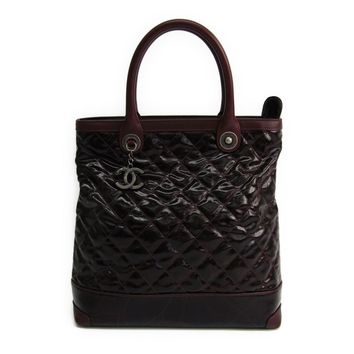Chanel Women's Leather Coated Canvas Tote Bag Bordeaux BF316841