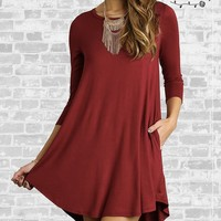 Perfect Pocket Tee Dress - Wine - Small or Medium only