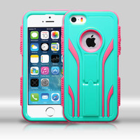 MYBAT TUFF Extreme Hybrid iPhone 5/5S Case - Teal Green/Electric Pink