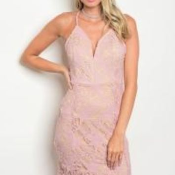 Mauve Tan Lace Dress