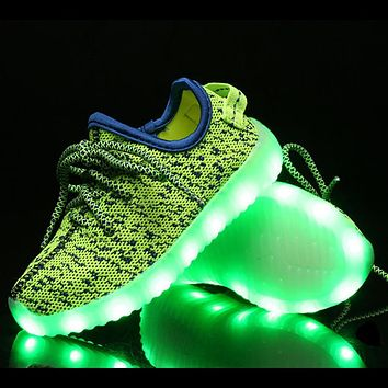New Rechargeable USB Led Kids Light Up Yeezy Shoes 2016 Lace-Up Breathe Running Shoes