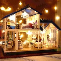 Wooden Handcraft Miniature Provence Dollhouse DIY Kit Voice-activated LED Light&Music with Cover