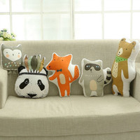 Lovely Cartoon Animals Panda Bear Raccoon Fox Owl Hunter Soldier Cushion Pillow Baby Dolls Stuffed Toys For Kids Decoration Room