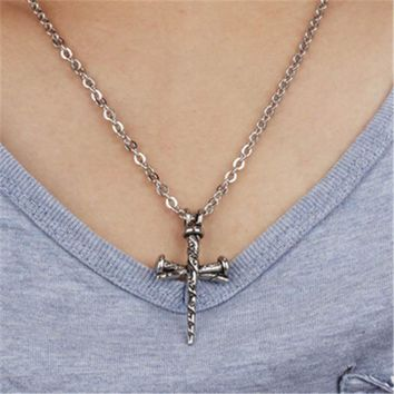 womens mens old silver hademade crucifix cross pendant necklace best gift 2