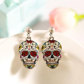 Skull Colorful Enamel Alloy Stud Earring for Women