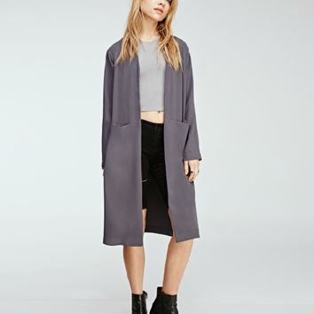 Fashion Solid Color Pocket Long Sleeve Medium Long Section Cardigan Windbreaker Coat