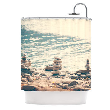 "Catherine McDonald ""River Cairns"" Brown Blue Shower Curtain"