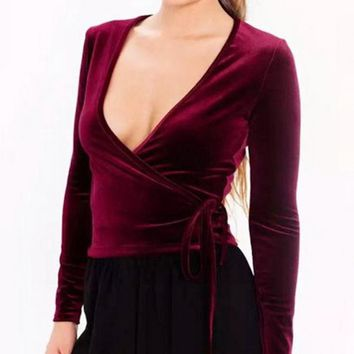 Women's Wrap Velvet Top