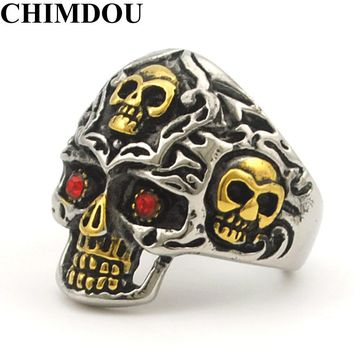 CHIMDOU  Gold Color Stainless Steel Rings for Motorcycle Biker PUNK Red Eye Skull Ring Men's Jewelry, drop shipping AR413