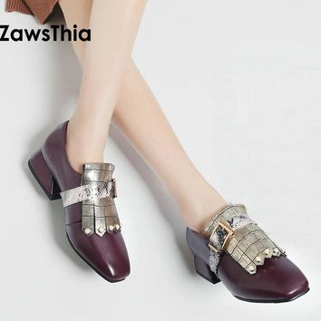 ZawsThia 2018 spring summer artificial leather woman shoes with pearls & buckle strap loafers shoes women plus size 11 44 45 46