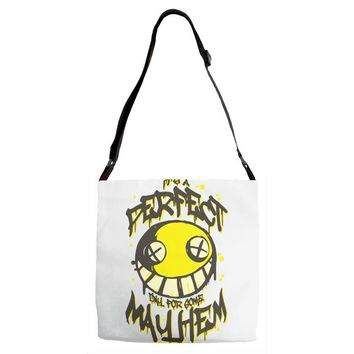 perfect day for mayhem Adjustable Strap Totes