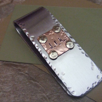 Personalized Money Clip - Custom Handstamped - Mixed Metal - Husband, Father Boyfriend Son Gift