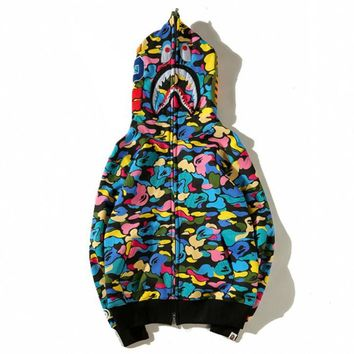 BAPE AAPE Fashion Casual Candy Color Camouflage Shark Mouth Hooded Sweater Thin Velvet Zipper Cardigan Jacket Coat I13832-1