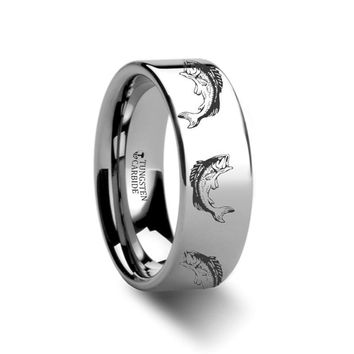 Sea Pattern - Bass Fish Jumping - Sea Print Ring - Laser Engraved - Flat Tungsten Ring - 4mm - 6mm - 8mm - 10mm - 12mm