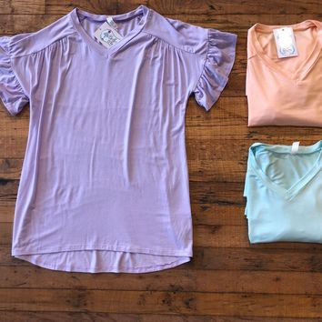 Evyn Top in Lilac, Peach, and Mint