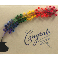 Spring Cards, Congratulations, Retirement, Graduation, Quilling Rainbow, Custom