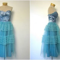 STOREWIDE SALE... 1950s dress - 50s blue tulle dress