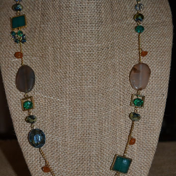 Gold/Rust/Green/Blue Long Beaded Necklace Set