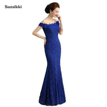Beads Lace Mermaid Long Evening Dress 2017 Cheap Red Prom Dresses Robe De Soiree Off The Shoulder Party Dress
