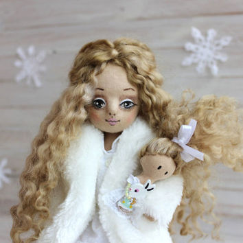 Cloth Doll, art doll, winter doll, Bunny doll, Collection doll, handmade cloth doll, beautiful doll, OOAK doll, cozy Christmas gift