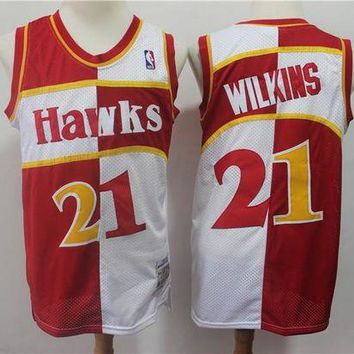 PEAP Atlanta Hawks 21 Dominique Wilkins Doubel Color Spell Swingman Jersey