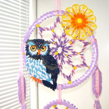 Quilling art Origami Dreamcatcher  Dream Catcher Large dreamcatcher Feather dreamcatcher Dreamcatcher mobile Hanging Mobile Nursery Mobile