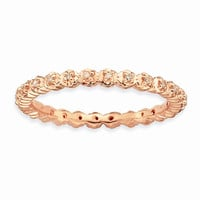 Sterling Silver Stackable Expressions Diamond Pink-plated Ring: RingSize: 7