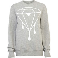 Grey dripping diamond print sweatshirt - t-shirts / tanks / sweats - sale - women