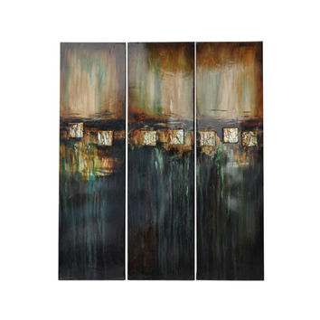 Crestview Collection CVTOP1211 Indecision Hand-Painted Stretched Canvas Wall Art, Set of Three