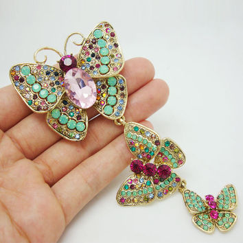 Vintage Luxurious 3 Butterfly Art Nouveau Pendant Brooch Pin Rhinestone Crystal