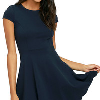 Proof of Perfection Navy Blue Skater Dress