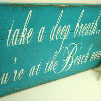 Beach Pallet Sign Beach Sign Beach House Rustic Shabby Chic Cottage Chic Vintage Turquoise Distressed Wood Handmade Hanpainted