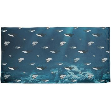 Shark Pattern Ocean All Over Beach Towel