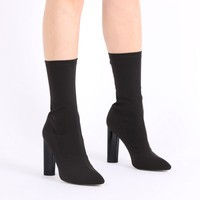 Cayden Heeled Sock Boots in Black Stretch