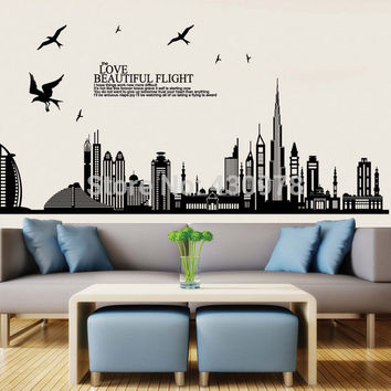New York building architectural wall sticker home decoration creative black wallpaper home decorations JM7280 size 60*90