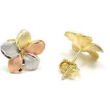 14K TRICOLOR YELLOW PINK WHITE GOLD 16MM HAWAIIAN PLUMERIA POST STUD EARRINGS