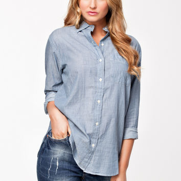 Blue Sleeve Collar Top