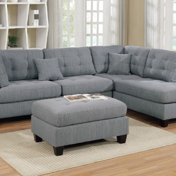 Poundex F6581 3 pc martinique grey linen like fabric sectional sofa with reversible chaise and ottoman