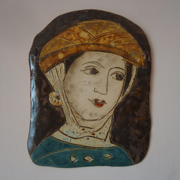 My Desislava. Ceramic wall panel. Historical portrait. Boyana Church, Bulgaria, 13 century. FREE SHIPPING