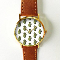 Cactus Heart Watch, Women Watches,  Leather Watch, Men's Watch,  Boyfriend Watch, Ladies Watch, Silver Gold Rose Watch, Unique, Gift, Plant