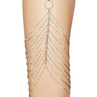 "Adjustable Harness Body Chain Leg Jewelry On Elastic, 10 Rows, Ours Alone! USA!, 22""- 24"", in Silver Tone"