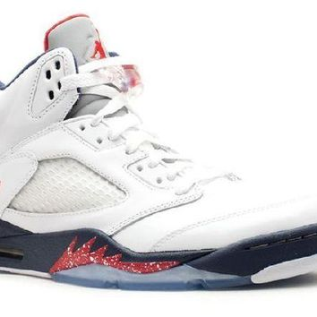 PEAPN Ready Stock Nike Air Jordan 5 Retro Olympic White Varsity Red Basketball Sport Shoes