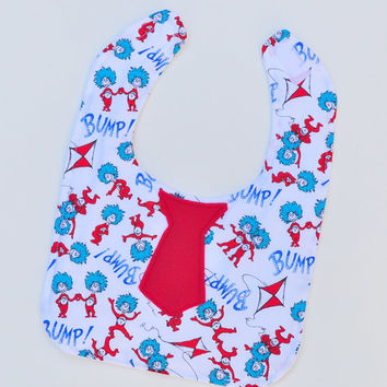 Toddler Bib - Dr Seuss Bib with Tie - Baby Tie Bib, Thing 1 Thing 2, Baby Bib, Toddler Boy Bib, Toddler Girl Bib