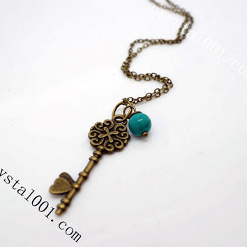 Natural Turquoise Antique Key Necklace, Pearl Necklace, Bronze Necklace,  Chakra Necklace, Bronze Key necklace, Open Your Heart