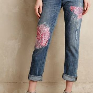 Pilcro Hyphen Silk-Patched Jeans India