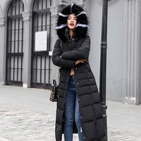 New Padded Jacket 2019 long Fashion Winter Jacket Women Thick Down Parkas female Slim Fur Collar Winter Warm Coat For Women