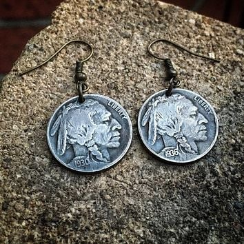 1930's Buffalo Indian Head Nickle Earrings
